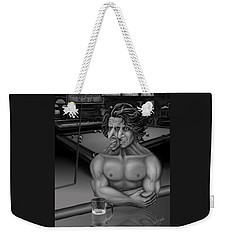 Weekender Tote Bag featuring the drawing Make It A Double by Vincent Autenrieb