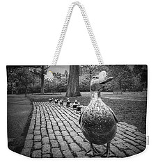 Make Way For Ducklings In Boston Black And White Weekender Tote Bag
