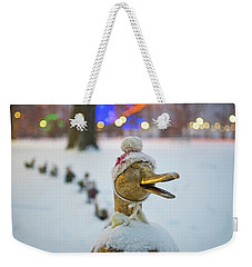 Make Way For Ducklings Winter Hats Boston Public Garden Christmas Weekender Tote Bag