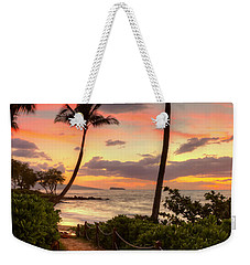 Weekender Tote Bag featuring the photograph Makena Sunset Path by Susan Rissi Tregoning