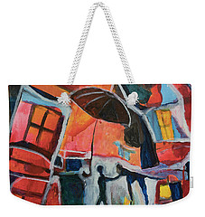 Weekender Tote Bag featuring the painting Making Friends Under The Umbrella by Susan Stone