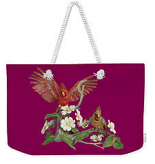 Male And Female Cardinals  Weekender Tote Bag by Walter Colvin