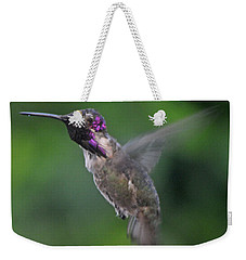 Male Anna's Hummingbird In Flight Weekender Tote Bag