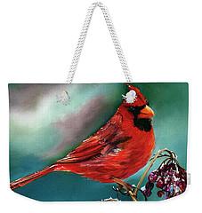 Male Cardinal And Snowy Cherries Weekender Tote Bag