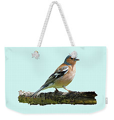 Male Chaffinch, Blue Background Weekender Tote Bag