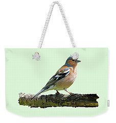 Male Chaffinch, Green Background Weekender Tote Bag