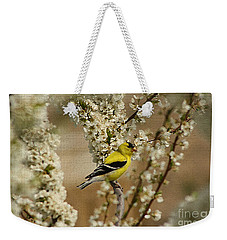 Male Finch In Blossoms Weekender Tote Bag by Cathy  Beharriell
