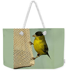 Male Goldfinch On Sock Feeder Weekender Tote Bag
