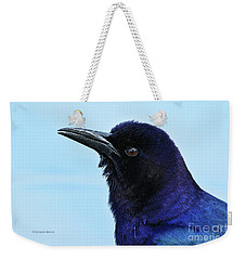 Weekender Tote Bag featuring the photograph Male Grackle Beauty by Deborah Benoit