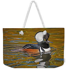 Weekender Tote Bag featuring the photograph Male Hooded Merganser Duck by Susan Candelario