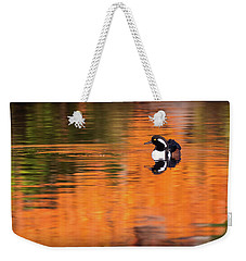 Male Hooded Merganser In Autumn Weekender Tote Bag