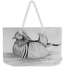 Male Mandrain Duck  Weekender Tote Bag by Amy Gallagher