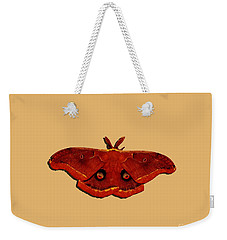 Weekender Tote Bag featuring the photograph Male Moth Red .png by Al Powell Photography USA