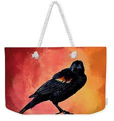 Male Red-winged Blackbird Weekender Tote Bag by Cyndy Doty