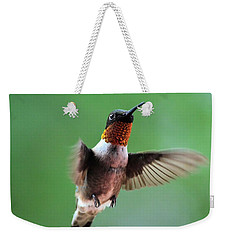 Male Ruby-throated Hummingbird Weekender Tote Bag by Kathy Eickenberg
