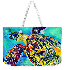 Weekender Tote Bag featuring the digital art Malia The Turtle by Erika Swartzkopf