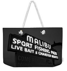 Malibu Pier Sign In Bw Weekender Tote Bag
