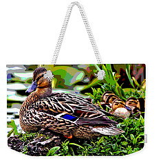Weekender Tote Bag featuring the mixed media Mallard And Chicks by Charles Shoup