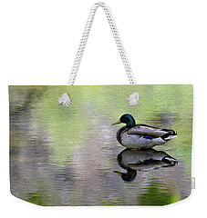 Weekender Tote Bag featuring the photograph Mallard In Mountain Water by Mark Myhaver