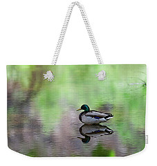 Weekender Tote Bag featuring the photograph Mallard In Reflecting Pool H58 by Mark Myhaver