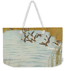 Mallards In Autumn Weekender Tote Bag by Newell Convers Wyeth