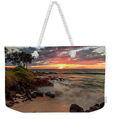 Weekender Tote Bag featuring the photograph Maluaka Beach Sunset by Susan Rissi Tregoning