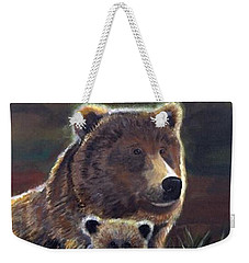 Weekender Tote Bag featuring the painting Mammas Warmth by Leslie Allen