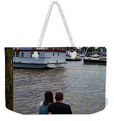 Man And Woman Sitting On Dock Weekender Tote Bag