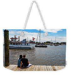 Man And Woman Sitting On The Dock Weekender Tote Bag