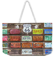 Man Cave License Plates Weekender Tote Bag by Marion Johnson