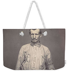 Weekender Tote Bag featuring the painting Man Holding Patent Office Book , Attributed To Oliver H. Willard by Artistic Panda