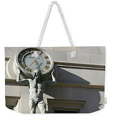 Man Holding Up Time Weekender Tote Bag
