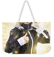 Weekender Tote Bag featuring the photograph Man Listening To Fm Radio Broadcast With Headphone by Jorgo Photography - Wall Art Gallery