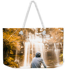 Weekender Tote Bag featuring the photograph Man Looking At Waterfall by Jorgo Photography - Wall Art Gallery