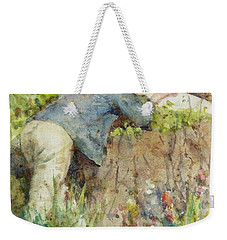 Weekender Tote Bag featuring the painting Man Looking Through A Telescope by Henry Scott Tuke