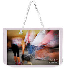 Woman Playing With Dog Weekender Tote Bag