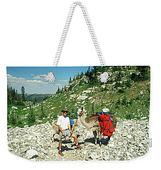 Man Posing With His Llama High Mountain Pass Weekender Tote Bag by Jerry Voss