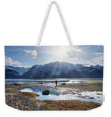 Man Walking On Southeast Alaskan Beach Weekender Tote Bag