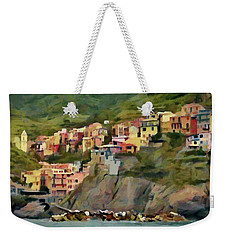Weekender Tote Bag featuring the painting Manarola by Jeff Kolker
