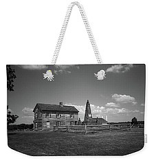 Weekender Tote Bag featuring the photograph Manassas Battlefield Farmhouse 2 Bw by Frank Romeo