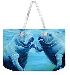 Manatees Socializing Weekender Tote Bag by Lloyd Dobson