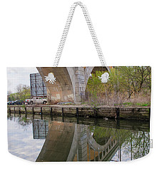 Weekender Tote Bag featuring the photograph Manayunk Canal Bridge Reflection by Bill Cannon