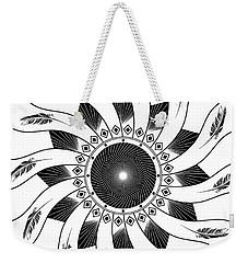 Weekender Tote Bag featuring the digital art Mandala Black And White by Linda Lees