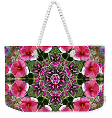 Weekender Tote Bag featuring the digital art Mandala Pink Patron by Nancy Griswold