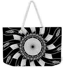 Weekender Tote Bag featuring the digital art Mandala White And Black by Linda Lees