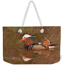 Mandarin Duck Reflection Weekender Tote Bag by Alan Lenk