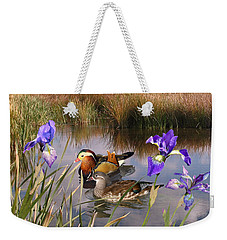 Mandarin Ducks And Wild Iris Weekender Tote Bag