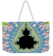 Weekender Tote Bag featuring the digital art Mandelbrot Fractal Greenery Rose Quartz Serenity by Matthias Hauser