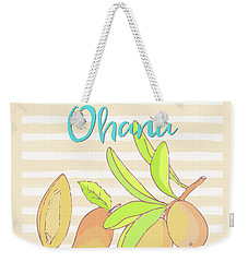 Mango Ohana Tropical Hawaiian Design Of Fruit And Family Weekender Tote Bag by Tina Lavoie