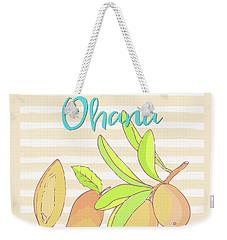 Mango Ohana Tropical Hawaiian Design Of Fruit And Family Weekender Tote Bag